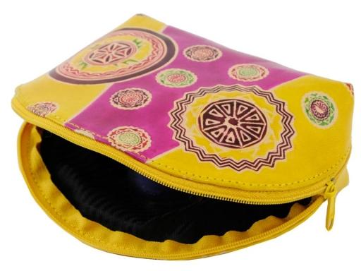 Puzdro / kozmetická taška kožená 12x18 cm horčicová 1ks