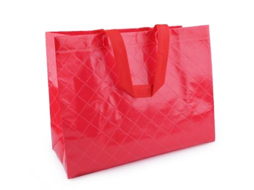 Nákupná taška jednofarebná, veľká 30x40 cm umývateľná červená 1ks