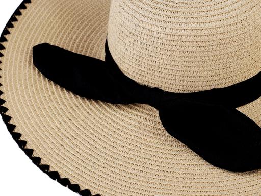 Dámsky klobúk / slamák s mašľou prírodné 1ks