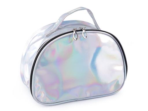 Holografická kozmetická taška / kufrík 17x23 cm 2. akosť strieborná 1ks