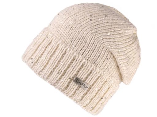 Dámska zimná čiapka s flitrami Capu béžová sv. 1ks