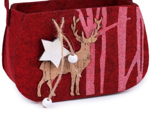 Vianočná filcová taška dekoračná / darčeková červená 1ks