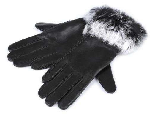 Dámske kožené rukavice so zajačou kožušinou čierna 1pár