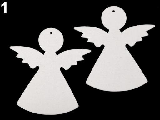 Drevený anjel na zavesenie / na nalepenie biela 2ks