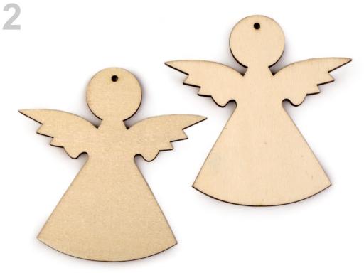 Drevený anjel na zavesenie / na nalepenie buk 2ks