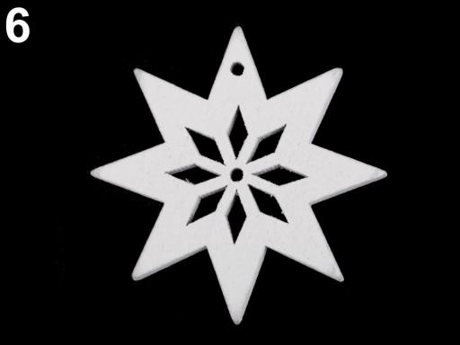 Drevené dekorácie vianočná vločka, hviezda, stromček, zvonček, koník, sob na zavesenie / na nalepenie biela 6ks