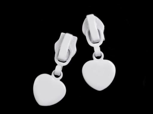 Bežec na špirálové zipsy 5 mm srdce biela 2ks