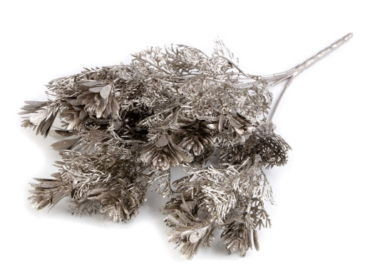 Vianočná vetvička so šiškou a glitrami strieborná 5ks