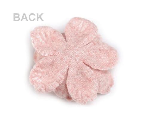 Vlnený kvet s piestikmi vo farbe kvetu Ø60 mm pudrová 2ks