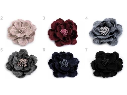 Vlnený kvet s piestikmi vo farbe kvetu Ø60 mm staroružová 2ks