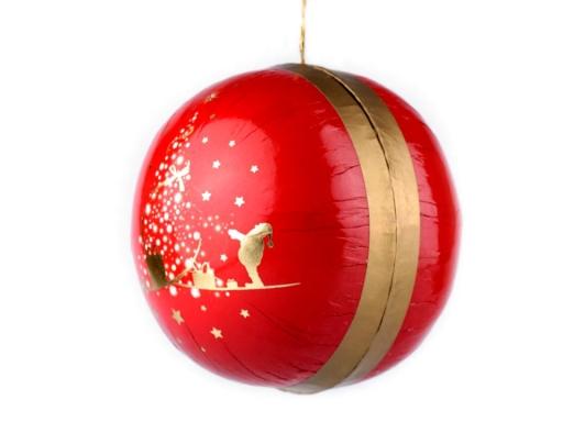 Darčeková krabička - guľa Ø8 cm červená 1ks