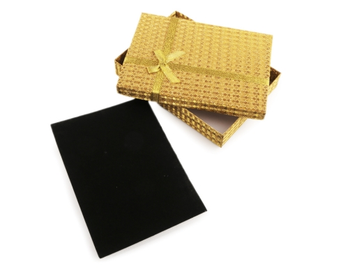 Krabička exkluzívna s mašľou 13x18 cm zlatá 1ks