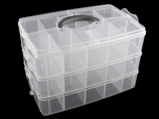 Veľký plastový box / kufrík rozkladací 3 poschodia Transparent 1ks