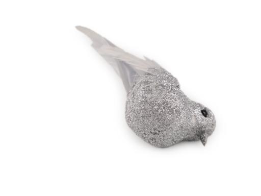 Dekorácia vianočný vtáčik s glitrami 2. akosť staroružová tm. 3ks