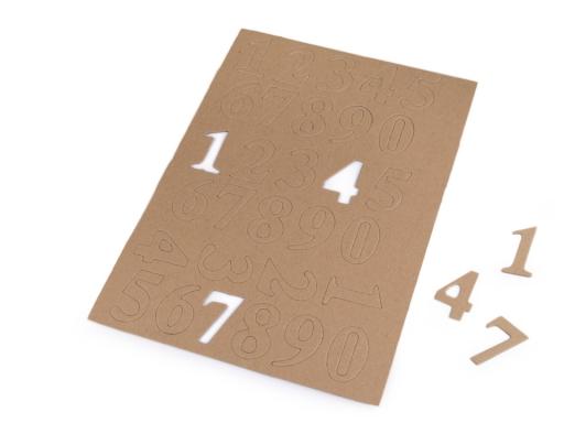 Papierové čísla a písmená hnedá prírodná 1kar.