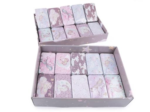 Plechová krabička jednorožec fialová tm. 1ks