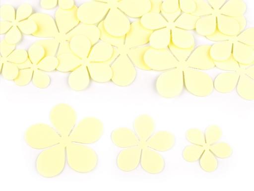 Foamiran kvety mix veľkostí biela 1sáčok