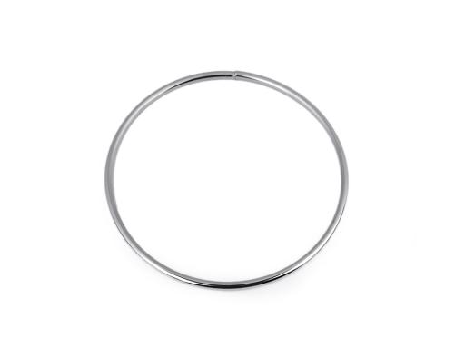 Kovový kruh / ucho na tašku Ø13,5 cm nikel 1ks