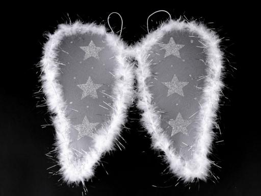 Anjelské krídla s perím a glitrovými hviezdami biela 1ks