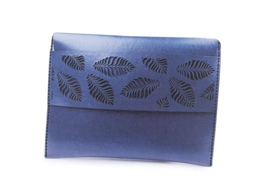 Polotovar na výrobu kabelky / lístočka - listy modrá capri 1ks