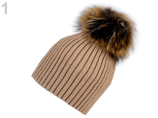 Dámska zimná čiapka s brmbolcom béžová 1ks