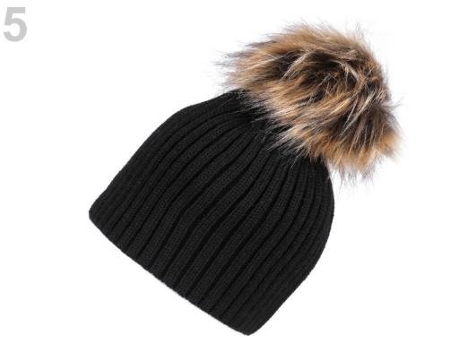 Dámska zimná čiapka s brmbolcom čierna 1ks