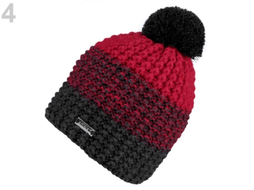 Dámska zimná čiapka s brmbolcom červená 1ks