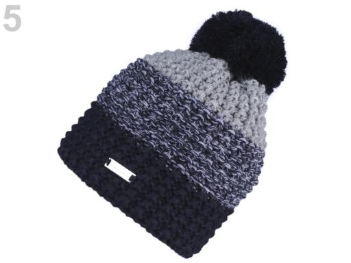 Dámska zimná čiapka s brmbolcom modrá tmavá 1ks