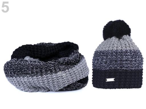 Dámska zimná sada čiapka a nákrčník modrá tmavá 1sada