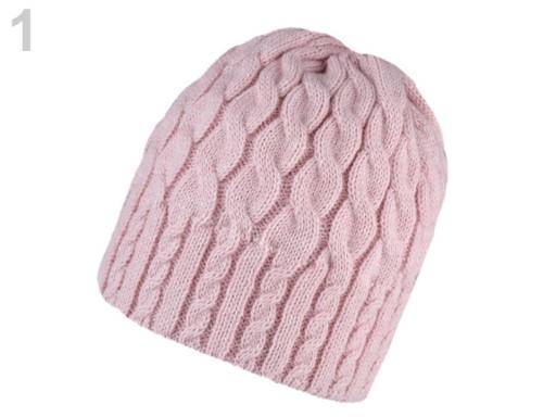 Dámska zimná čiapka pletená pudrová 1ks
