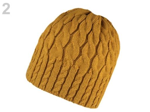 Dámska zimná čiapka pletená horčicová 1ks