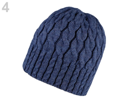 Dámska zimná čiapka pletená modrá tm. 1ks