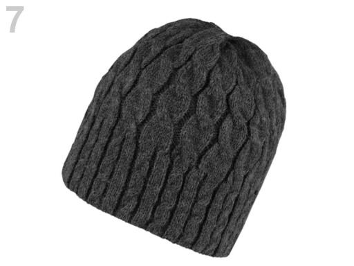 Dámska zimná čiapka pletená zateplená šedá sv. 1ks