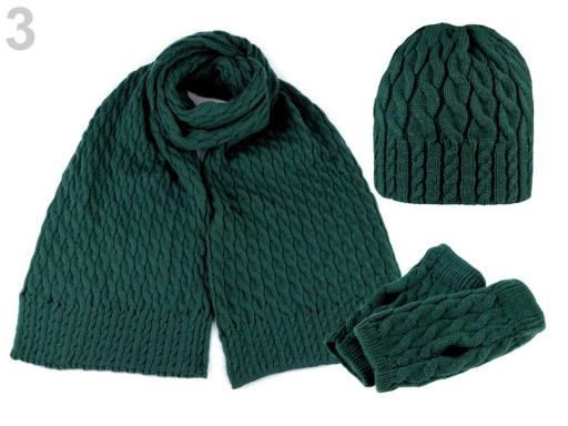 Dámska zimná sada čiapka, šál a rukavice zelená malachitová 1sada