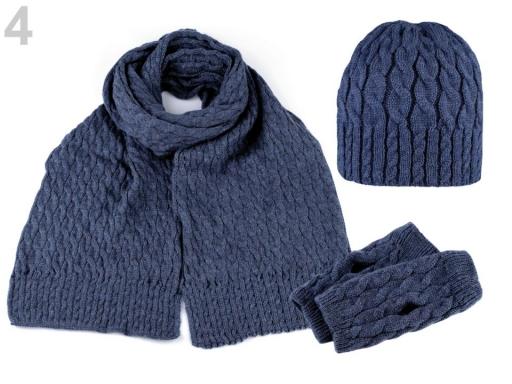 Dámska zimná sada čiapka, šál a rukavice modrá tm. 1sada