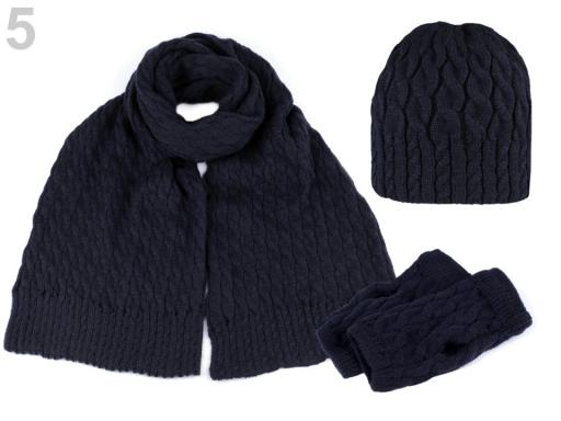Dámska zimná sada čiapka, šál a rukavice modrá tmavá 1sada