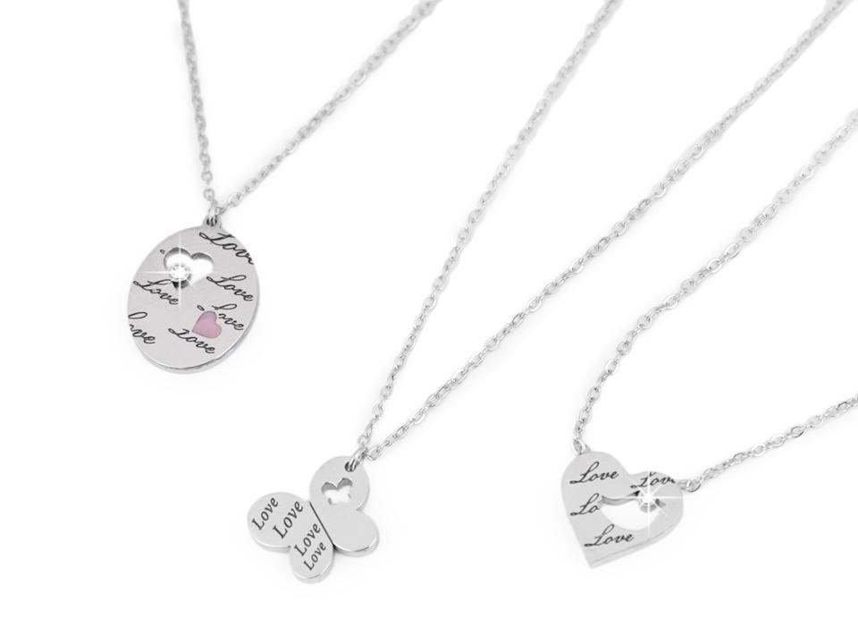 36f027ee0 Náhrdelník z nerezovej ocele ovál, srdce, motýľ s nápisom Love | STOKLASA  textilní galanterie