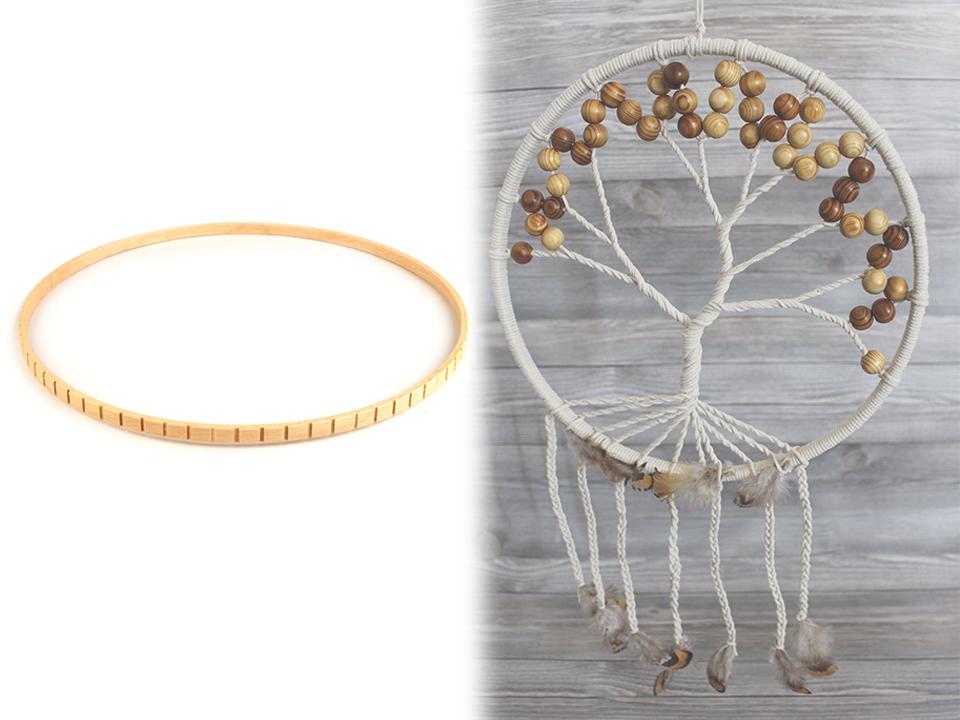 0978e10426def Drevený kruh na lapač snov so zárezmi | STOKLASA textilní galanterie